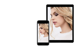 Use the Mary Kay Virtual Makeover to try on shades from the NEW limited-edition Fall/Winter 2017 Collection from Mary Kay. In the right corner, a tablet and smartphone are displayed showing the same young woman wearing purple eye shadow and a pink lip.